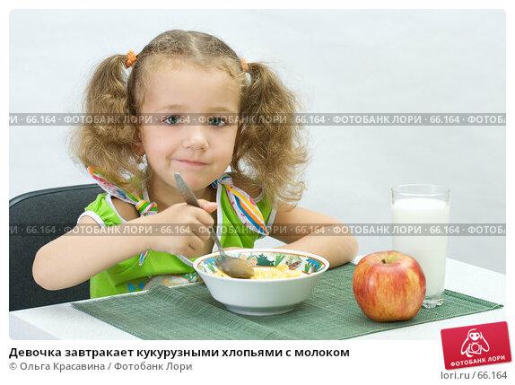 Девочка завтракает кукурузными хлопьями с молоком, фото № 66164, снято 28 июля 2007 г. (c) Ольга Красавина / Фотобанк Лори