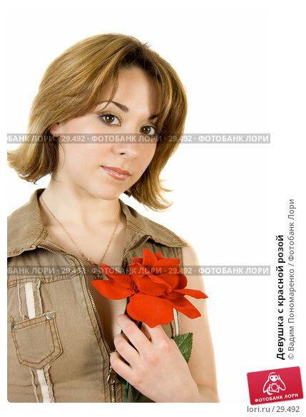 Купить «Девушка с красной розой», фото № 29492, снято 24 марта 2007 г. (c) Вадим Пономаренко / Фотобанк Лори