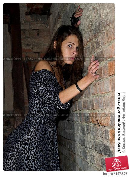Купить «Девушка у кирпичной стены», фото № 157576, снято 25 августа 2007 г. (c) Коваль Василий / Фотобанк Лори