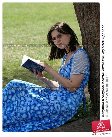 Купить «Девушка в голубом платье читает книгу в тени дерева», фото № 68732, снято 24 июня 2007 г. (c) Julia Nelson / Фотобанк Лори