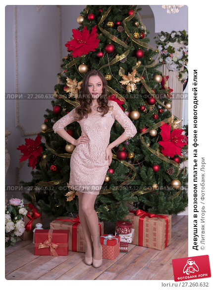 Купить «Девушка в розовом платье на фоне новогодней ёлки», фото № 27260632, снято 20 октября 2017 г. (c) Литвяк Игорь / Фотобанк Лори