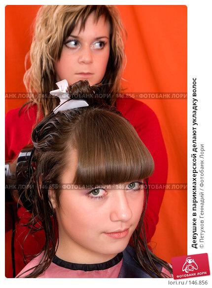 Девушке в парикмахерской делают укладку волос, фото № 146856, снято 11 декабря 2007 г. (c) Петухов Геннадий / Фотобанк Лори