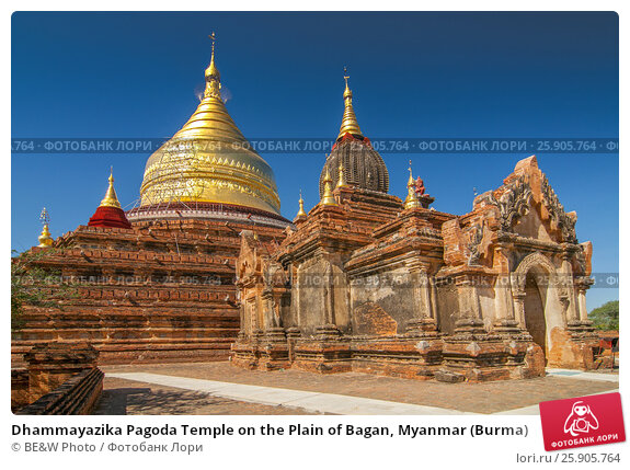 Купить «Dhammayazika Pagoda Temple on the Plain of Bagan, Myanmar (Burma)», фото № 25905764, снято 16 сентября 2019 г. (c) BE&W Photo / Фотобанк Лори