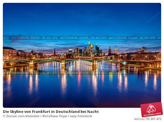 Die Skyline von Frankfurt in Deutschland bei Nacht. Стоковое фото, фотограф Zoonar.com/elxeneize / easy Fotostock / Фотобанк Лори