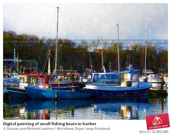 Digital painting of small fishing boats in harbor. Стоковое фото, фотограф Zoonar.com/Richard Laschon / easy Fotostock / Фотобанк Лори