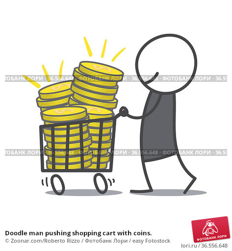 Doodle man pushing shopping cart with coins. Стоковое фото, фотограф Zoonar.com/Roberto Rizzo / easy Fotostock / Фотобанк Лори