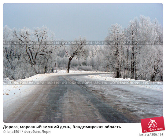 Купить «Дорога, морозный зимний день, Владимирская область», эксклюзивное фото № 359116, снято 8 января 2008 г. (c) lana1501 / Фотобанк Лори