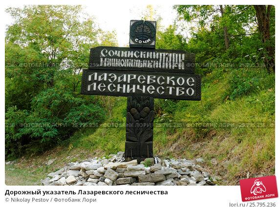 Купить «Дорожный указатель Лазаревского лесничества», фото № 25795236, снято 12 августа 2015 г. (c) Nikolay Pestov / Фотобанк Лори