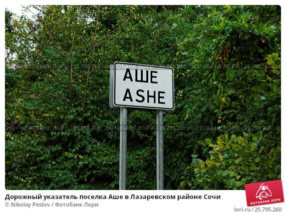 Купить «Дорожный указатель поселка Аше в Лазаревском районе Сочи», фото № 25795260, снято 12 августа 2015 г. (c) Nikolay Pestov / Фотобанк Лори