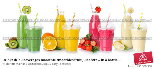 Drinks drink beverages smoothie smoothies fruit juice straw in a bottle... Стоковое фото, фотограф Markus Mainka / easy Fotostock / Фотобанк Лори