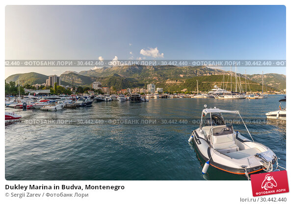 Купить «Dukley Marina in Budva, Montenegro», фото № 30442440, снято 10 июля 2018 г. (c) Sergii Zarev / Фотобанк Лори
