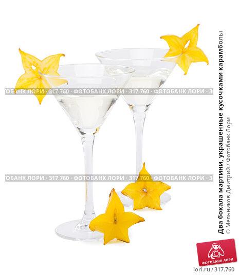 Два бокала мартини, украшенные кусочками карамболы, фото № 317760, снято 20 мая 2008 г. (c) Мельников Дмитрий / Фотобанк Лори