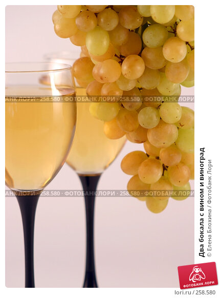 Два бокала с вином и виноград, фото № 258580, снято 23 августа 2007 г. (c) Елена Блохина / Фотобанк Лори