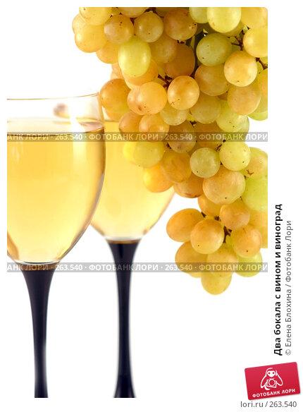 Купить «Два бокала с вином и виноград», фото № 263540, снято 23 августа 2007 г. (c) Елена Блохина / Фотобанк Лори