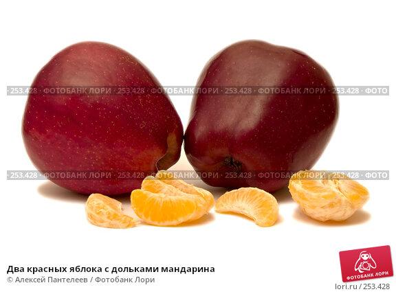 Два красных яблока с дольками мандарина, фото № 253428, снято 12 марта 2008 г. (c) Алексей Пантелеев / Фотобанк Лори