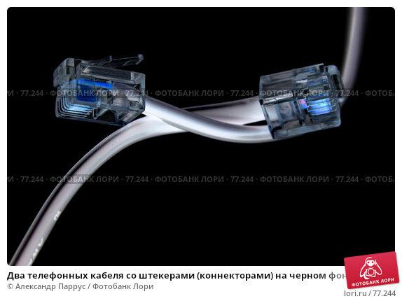 Два телефонных кабеля со штекерами (коннекторами) на черном фоне, фото № 77244, снято 9 октября 2006 г. (c) Александр Паррус / Фотобанк Лори