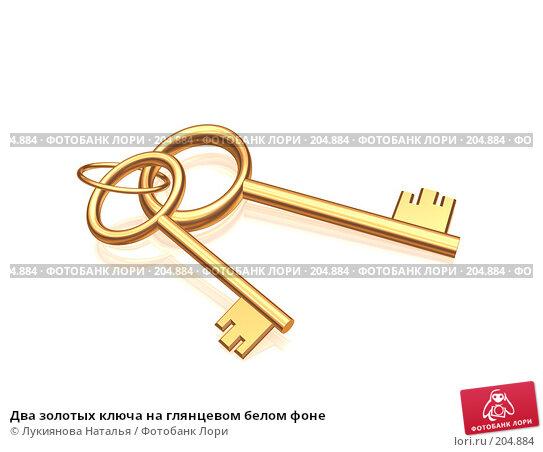 Два золотых ключа на глянцевом белом фоне, иллюстрация № 204884 (c) Лукиянова Наталья / Фотобанк Лори