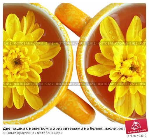 Две чашки с напитком и хризантемами на белом, изолированные, фото № 9612, снято 29 июня 2006 г. (c) Ольга Красавина / Фотобанк Лори
