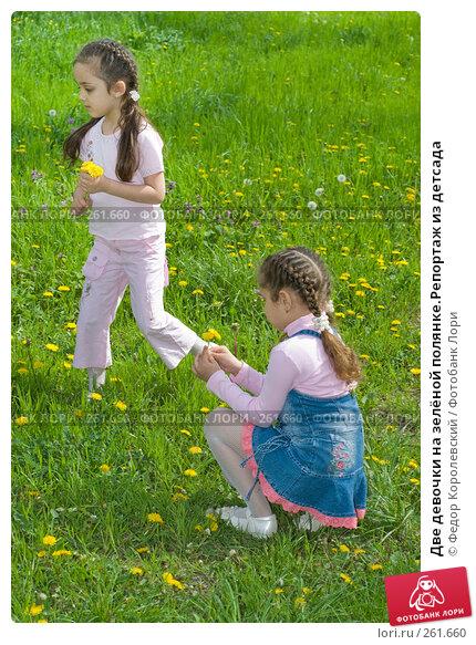 Купить «Две девочки на зелёной полянке.Репортаж из детсада», фото № 261660, снято 24 апреля 2008 г. (c) Федор Королевский / Фотобанк Лори