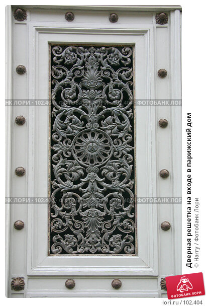 Дверная решетка на входе в парижский дом, фото № 102404, снято 23 октября 2016 г. (c) Harry / Фотобанк Лори