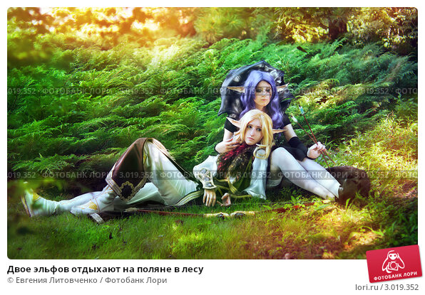 Купить «Двое эльфов отдыхают на поляне в лесу», фото № 3019352, снято 19 февраля 2020 г. (c) Евгения Литовченко / Фотобанк Лори