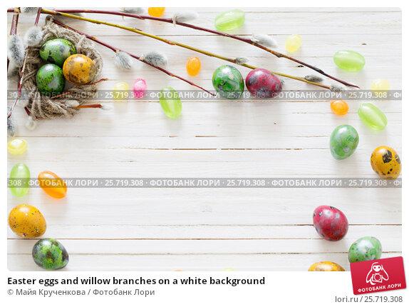 Купить «Easter eggs and willow branches on a white background», фото № 25719308, снято 29 марта 2016 г. (c) Майя Крученкова / Фотобанк Лори