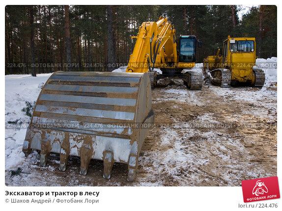 Купить «Экскаватор и трактор в лесу», фото № 224476, снято 15 марта 2008 г. (c) Шахов Андрей / Фотобанк Лори