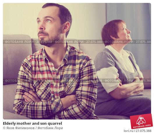 Купить «Elderly mother and son quarrel», фото № 27075388, снято 12 декабря 2017 г. (c) Яков Филимонов / Фотобанк Лори