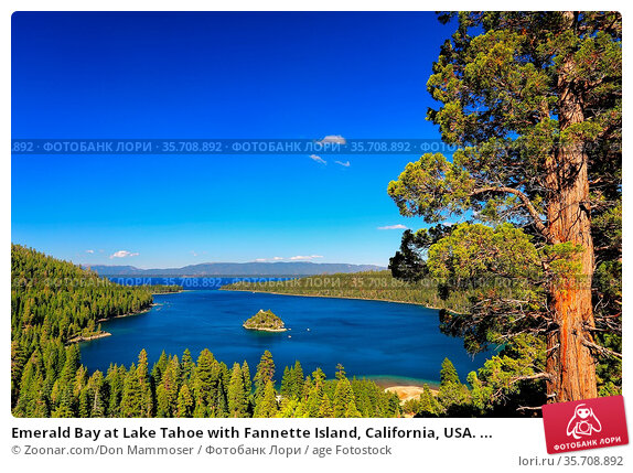 Emerald Bay at Lake Tahoe with Fannette Island, California, USA. ... Стоковое фото, фотограф Zoonar.com/Don Mammoser / age Fotostock / Фотобанк Лори