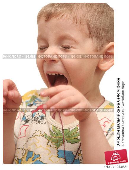 Эмоции мальчика на белом фоне, фото № 195088, снято 9 ноября 2007 г. (c) Останина Екатерина / Фотобанк Лори
