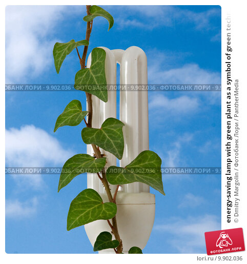 Energy Saving Lamp With Green Plant As A Symbol Of Green Technol