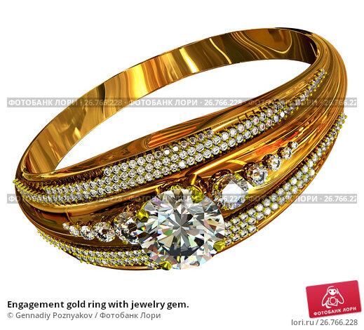 Engagement gold ring with jewelry gem., иллюстрация № 26766228 (c) Gennadiy Poznyakov / Фотобанк Лори