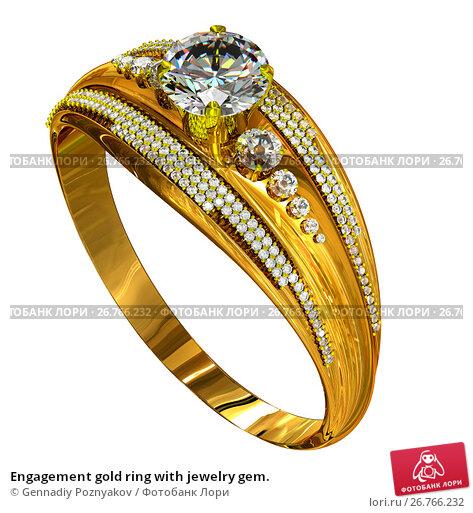 Engagement gold ring with jewelry gem., иллюстрация № 26766232 (c) Gennadiy Poznyakov / Фотобанк Лори
