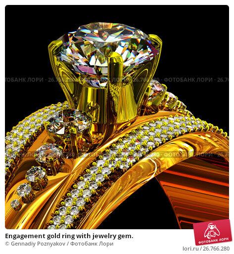 Купить «Engagement gold ring with jewelry gem.», иллюстрация № 26766280 (c) Gennadiy Poznyakov / Фотобанк Лори
