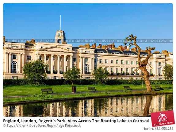 England, London, Regent's Park, View Across The Boating Lake to Cornwall Terrace Marylebone. Стоковое фото, фотограф Steve Vidler / age Fotostock / Фотобанк Лори