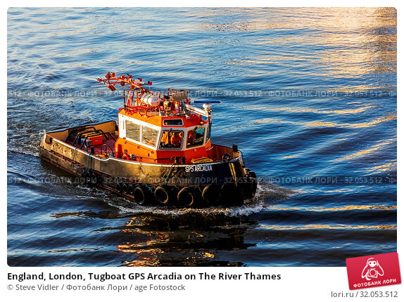England, London, Tugboat GPS Arcadia on The River Thames. Стоковое фото, фотограф Steve Vidler / age Fotostock / Фотобанк Лори