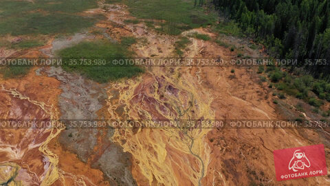 Environmental pollution from the extraction of copper ore. View from above. Martian landscape. Стоковое видео, видеограф Евгений Ткачёв / Фотобанк Лори