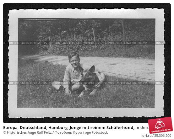 Europa, Deutschland, Hamburg, Junge mit seinem Schäferhund, in den... Редакционное фото, фотограф Historisches Auge Ralf Feltz / age Fotostock / Фотобанк Лори
