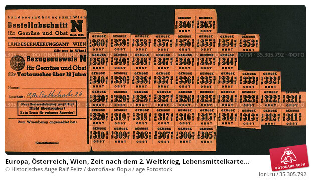 Europa, Österreich, Wien, Zeit nach dem 2. Weltkrieg, Lebensmittelkarte... Редакционное фото, фотограф Historisches Auge Ralf Feltz / age Fotostock / Фотобанк Лори