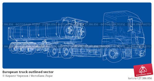 Купить «European truck outlined vector», иллюстрация № 27386856 (c) Кирилл Черезов / Фотобанк Лори