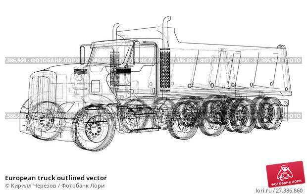Купить «European truck outlined vector», иллюстрация № 27386860 (c) Кирилл Черезов / Фотобанк Лори