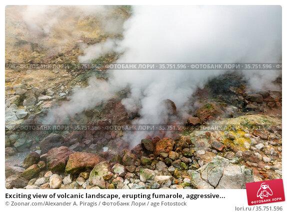 Exciting view of volcanic landscape, erupting fumarole, aggressive... Стоковое фото, фотограф Zoonar.com/Alexander A. Piragis / age Fotostock / Фотобанк Лори