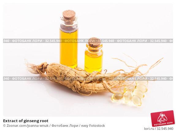 Купить «Extract of ginseng root», фото № 32545940, снято 7 декабря 2019 г. (c) easy Fotostock / Фотобанк Лори