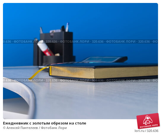 Ежедневник с золотым обрезом на столе, фото № 320636, снято 11 июня 2008 г. (c) Алексей Пантелеев / Фотобанк Лори