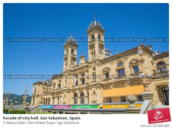 Facade of city hall. San Sebastian, Spain. Стоковое фото, фотограф María Galán / age Fotostock / Фотобанк Лори