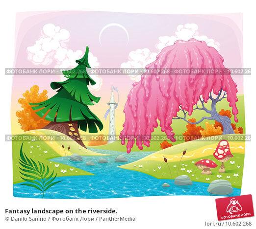 Fantasy landscape on the riverside. Стоковое фото, фотограф Danilo Sanino / PantherMedia / Фотобанк Лори