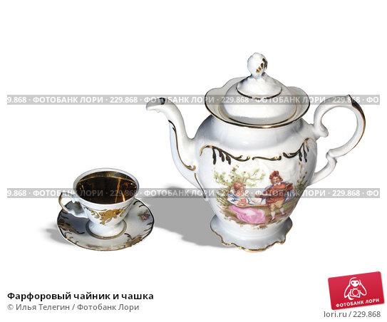 Фарфоровый чайник и чашка, фото № 229868, снято 25 марта 2017 г. (c) Илья Телегин / Фотобанк Лори