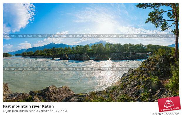 Купить «Fast mountain river Katun», фото № 27387708, снято 28 июля 2017 г. (c) Jan Jack Russo Media / Фотобанк Лори