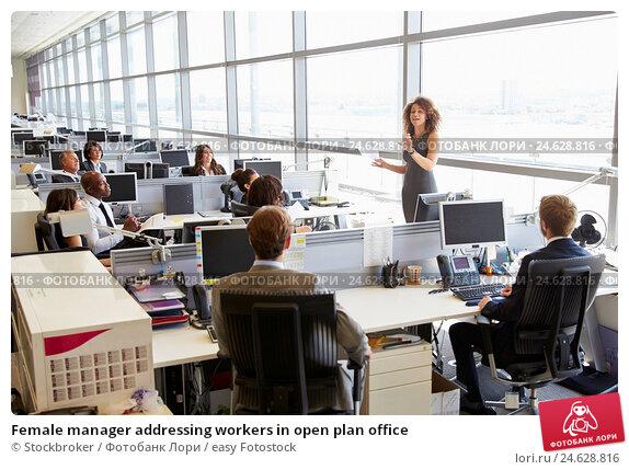 Купить «Female manager addressing workers in open plan office», фото № 24628816, снято 24 июня 2015 г. (c) easy Fotostock / Фотобанк Лори