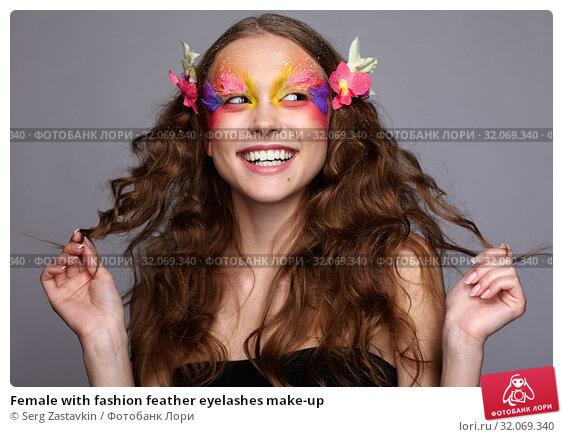 Female with fashion feather eyelashes make-up. Стоковое фото, фотограф Serg Zastavkin / Фотобанк Лори